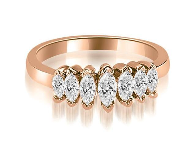 1.01 cttw. Marquise Diamond 7-Stone Wedding Band in 18K Rose Gold