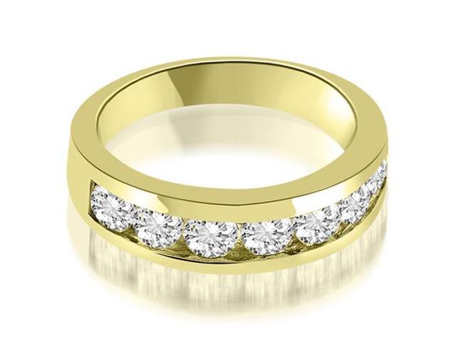 1.40 cttw. Classic Channel Round Cut Diamond Wedding Band in 14K Yellow Gold