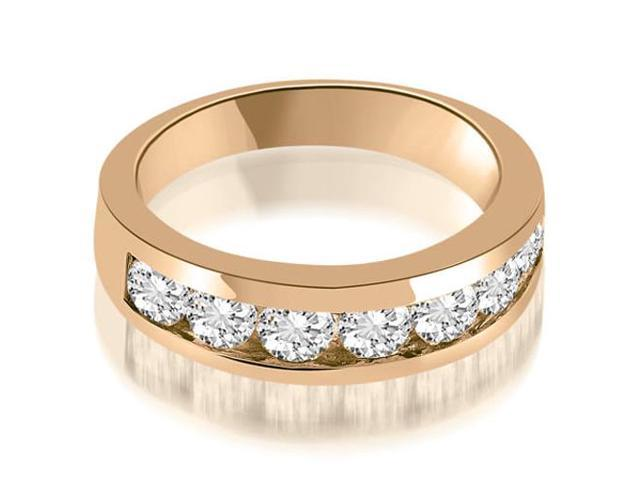 1.40 cttw. Classic Channel Round Cut Diamond Wedding Band in 14K Rose Gold