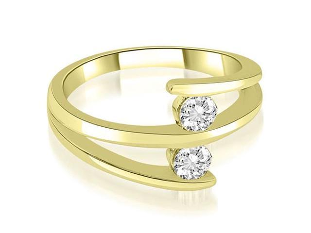 0.50 cttw. Two Stone Tension Split Shank Diamond Wedding Ring in 14K Yellow Gold (VS2, G-H)