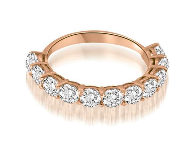 1.65 cttw. Basket Prong Round Cut Diamond Wedding Band in 18K Rose Gold