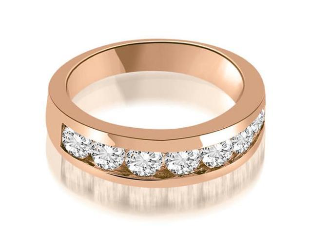 1.40 cttw. Classic Channel Round Cut Diamond Wedding Band in 18K Rose Gold
