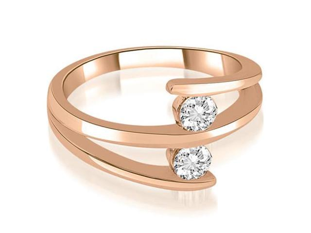 0.50 cttw. Two Stone Tension Split Shank Diamond Wedding Ring in 18K Rose Gold (SI2, H-I)