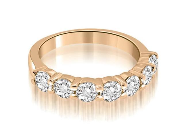 1.05 cttw. Classic Round Cut Diamond Wedding Band in 14K Rose Gold (VS2, G-H)