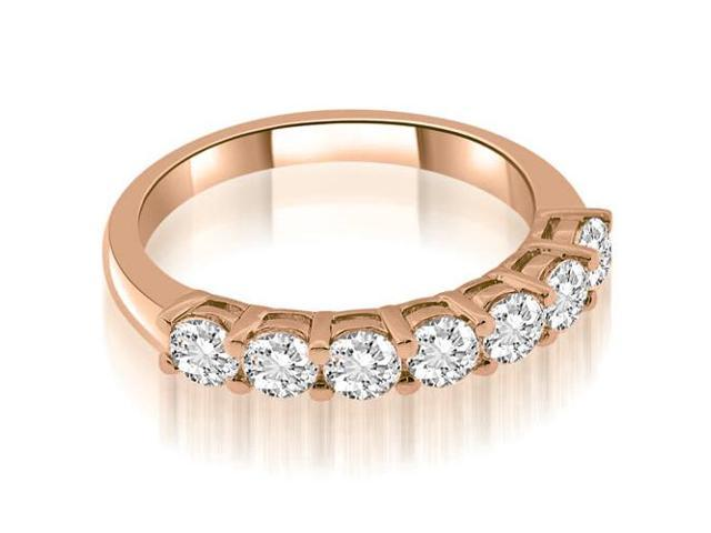 1.05 cttw. Classic Basket Round Cut Diamond Wedding Band in 18K Rose Gold (VS2, G-H)