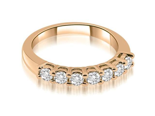 0.85 cttw. Classic Basket Prong Round Cut Diamond Wedding Band in 14K Rose Gold