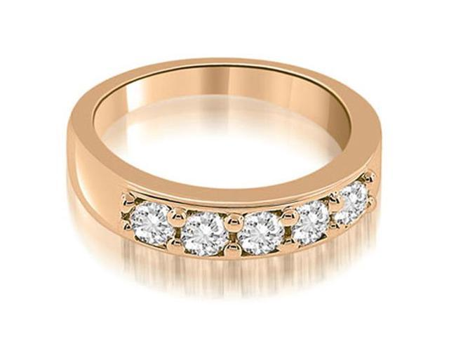 0.60 cttw. Classic Prong Set Round Cut Diamond Wedding Band in 14K Rose Gold