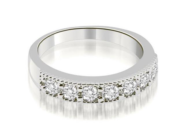 0.70 cttw. Classic Milgrain Round Cut Diamond Wedding Band in Platinum (SI2, H-I)