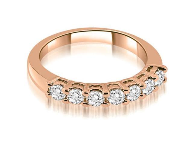 0.85 cttw. Classic Basket Prong Round Cut Diamond Wedding Band in 18K Rose Gold