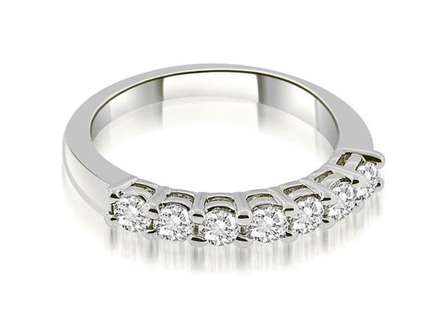 0.85 cttw. Classic Basket Prong Round Cut Diamond Wedding Band in 18K White Gold