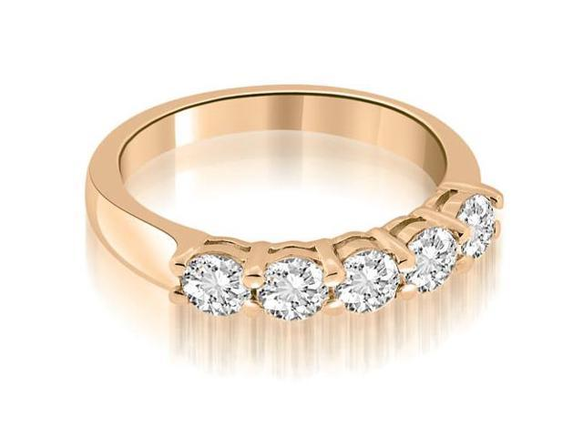 0.75 cttw. Classic Round Cut Diamond Wedding Band in 14K Rose Gold (SI2, H-I)