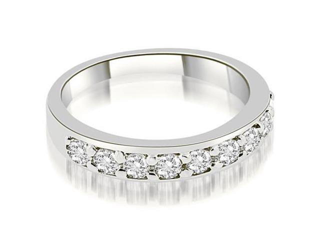 0.63 cttw. Classic Prong Set Round Cut Diamond Wedding Band in Platinum