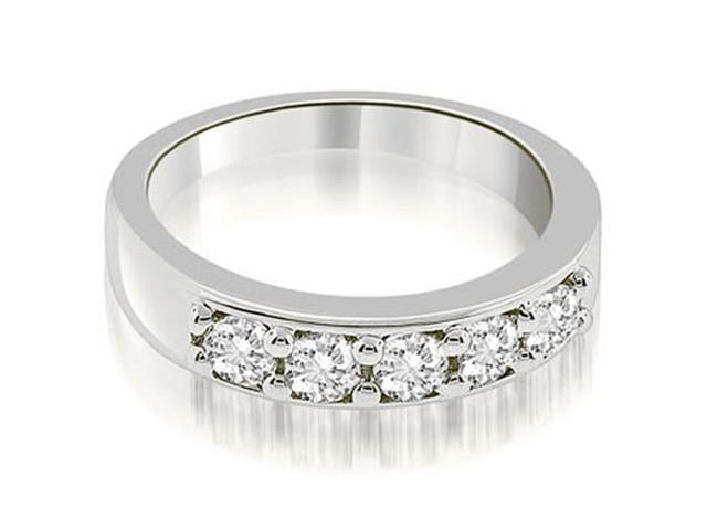 0.60 cttw. Classic Prong Set Round Cut Diamond Wedding Band in Platinum