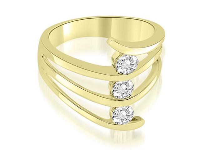 0.75 cttw. Three Stone Tension Split Shank Diamond Wedding Ring in 18K Yellow Gold (SI2, H-I)