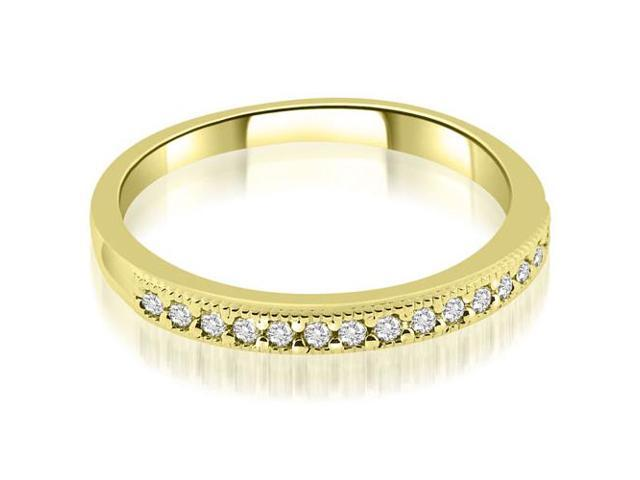 0.25 cttw. Classic Milgrain Round Cut Diamond Wedding Band in 14K Yellow Gold