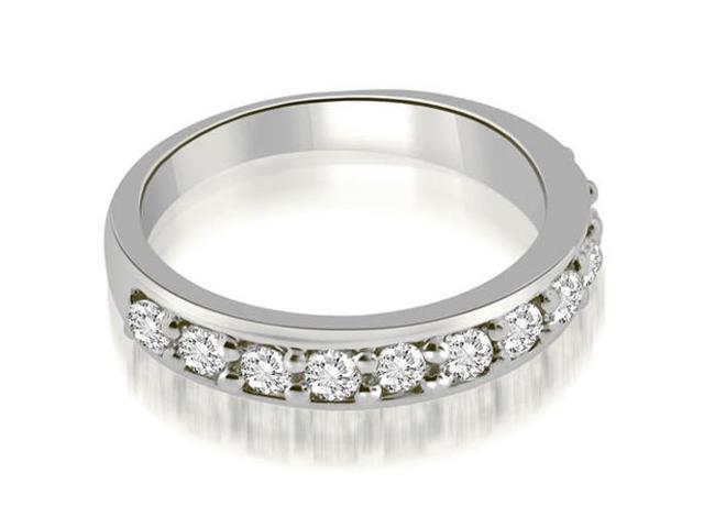 0.77 cttw. Classic Prong Set Round Cut Diamond Wedding Band in 14K White Gold