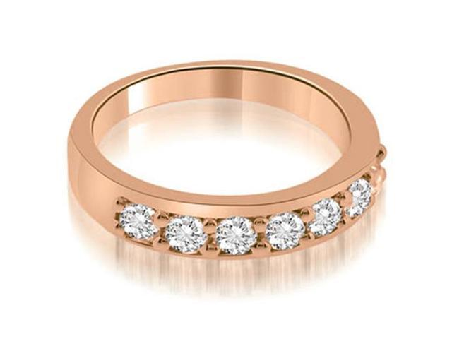 0.70 cttw. Classic Prong Set Round Cut Diamond Wedding Band in 18K Rose Gold