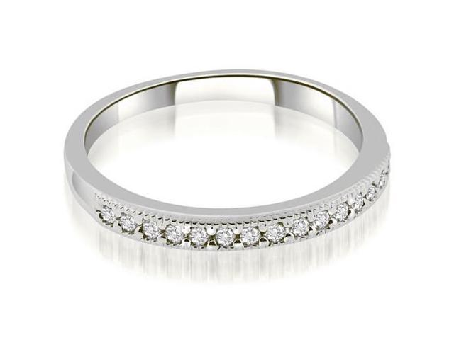 0.25 cttw. Classic Milgrain Round Cut Diamond Wedding Band in 18K White Gold