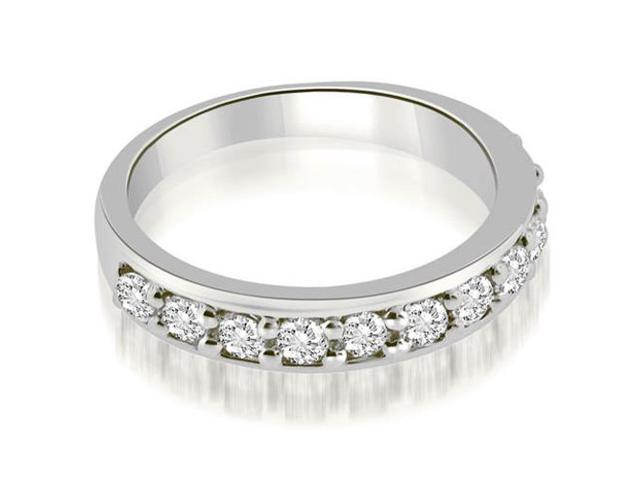 0.77 cttw. Classic Prong Set Round Cut Diamond Wedding Band in 18K White Gold