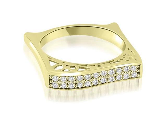 0.22 cttw. Antique Style Square Diamond Wedding Ring in 18K Yellow Gold (VS2, G-H)