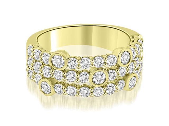 2.20 cttw. Three-Row Round Cut Diamond Wedding Ring in 14K Yellow Gold (SI2, H-I)