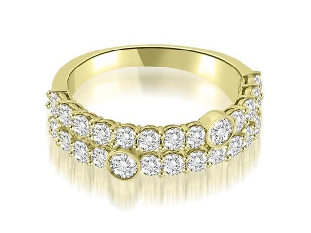 1.40 cttw. Two-Row Round Cut Diamond Wedding Ring in 18K Yellow Gold (VS2, G-H)