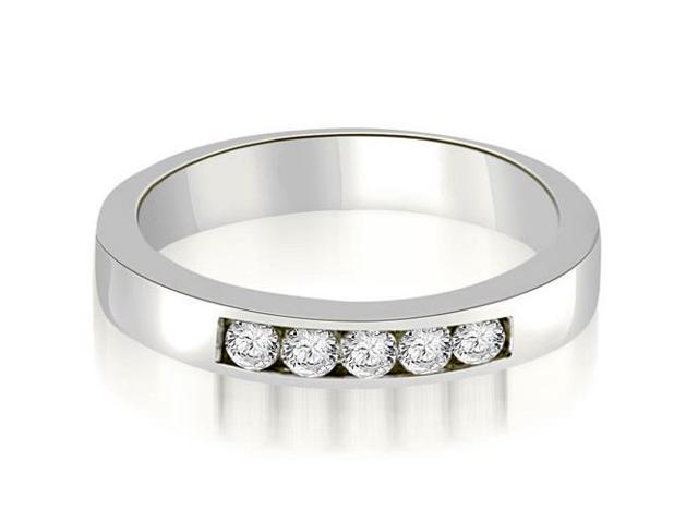 0.35 cttw. Round Diamond 5-Stone Channel Wedding Band in 18K White Gold