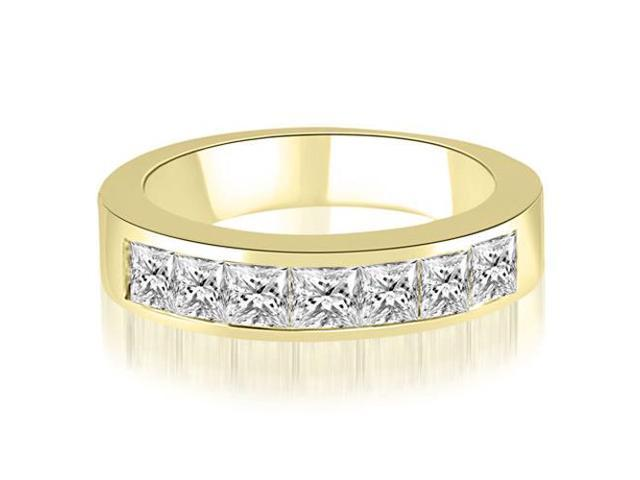 0.70 cttw. Princess Diamond 7-Stone Channel Wedding Band in 18K Yellow Gold