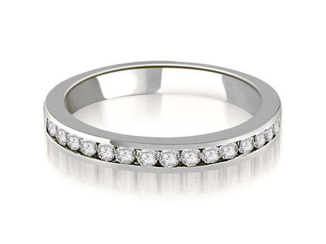 0.50 cttw. Round Diamond Classic Channel Wedding Band in 14K White Gold