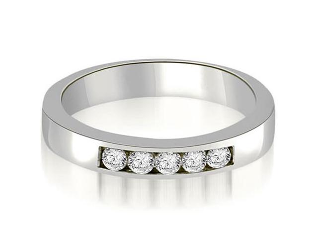 0.50 cttw. Round Diamond 5-Stone Channel Wedding Band in 14K White Gold