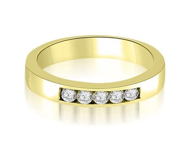 0.50 cttw. Round Diamond 5-Stone Channel Wedding Band in 14K Yellow Gold