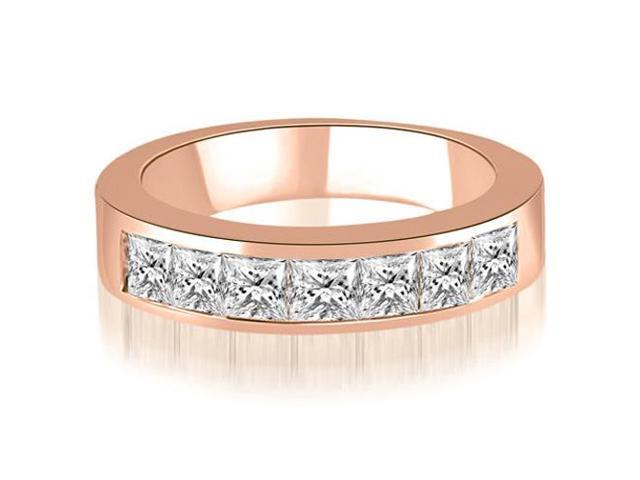 1.00 cttw. Princess Diamond 7-Stone Channel Wedding Band in 18K Rose Gold