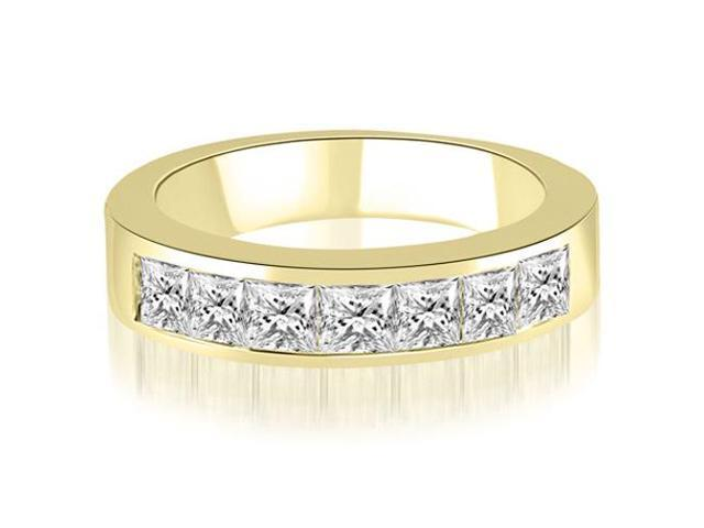 1.00 cttw. Princess Diamond 7-Stone Channel Wedding Band in 18K Yellow Gold