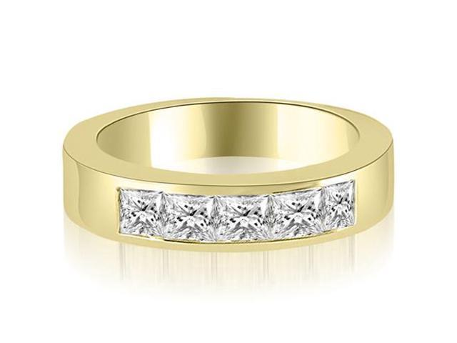 1.00 cttw. Princess Diamond 5-Stone Channel Wedding Band in 18K Yellow Gold