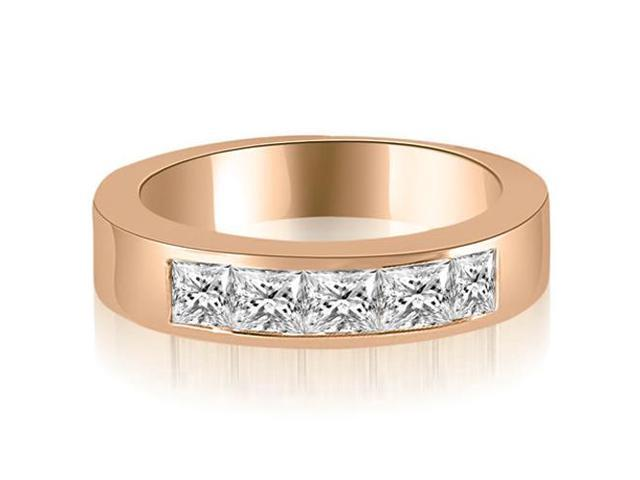 1.35 cttw. Princess Diamond 5-Stone Channel Wedding Band in 14K Rose Gold