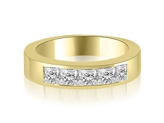 1.35 cttw. Princess Diamond 5-Stone Channel Wedding Band in 14K Yellow Gold