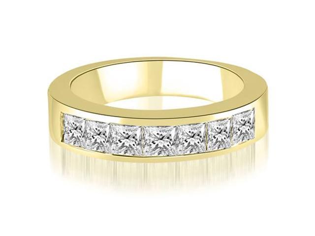 1.20 cttw. Princess Diamond 7-Stone Channel Wedding Band in 14K Yellow Gold