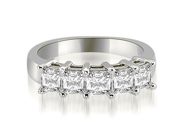 1.00 cttw. Princess Diamond 5-Stone Prong Wedding Band in 14K White Gold