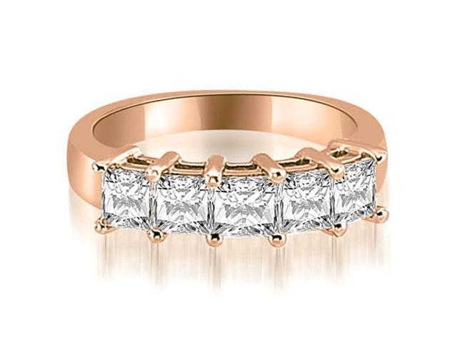 1.00 cttw. Princess Diamond 5-Stone Prong Wedding Band in 18K Rose Gold
