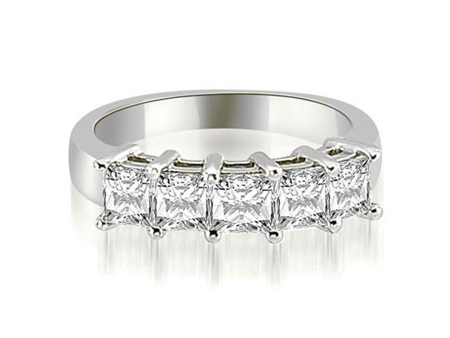 1.35 cttw. Princess Diamond 5-Stone Prong Wedding Band in 18K White Gold