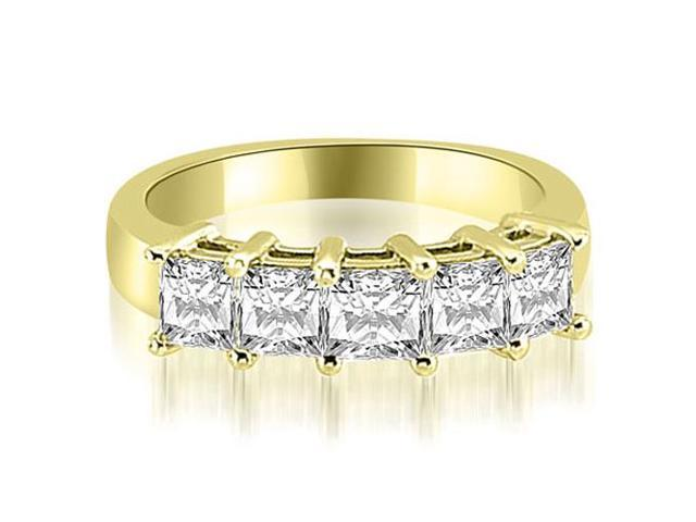 1.35 cttw. Princess Diamond 5-Stone Prong Wedding Band in 14K Yellow Gold