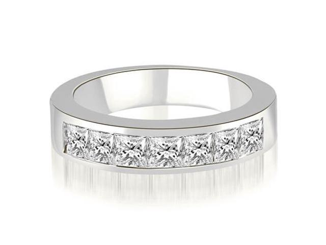 0.70 cttw. Princess Diamond 7-Stone Channel Wedding Band in 18K White Gold