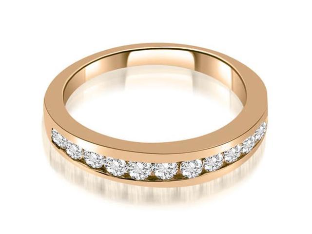 0.65 cttw. Classic Channel Round Cut Diamond Wedding Band in 14K Rose Gold