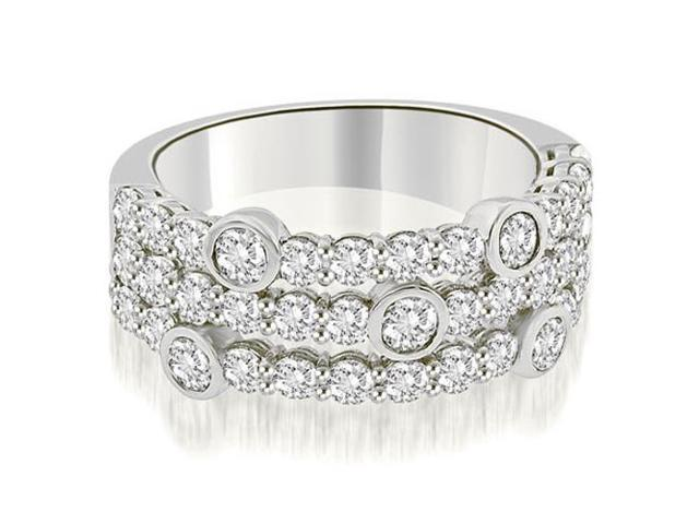 2.20 cttw. Three-Row Round Cut Diamond Wedding Ring in Platinum