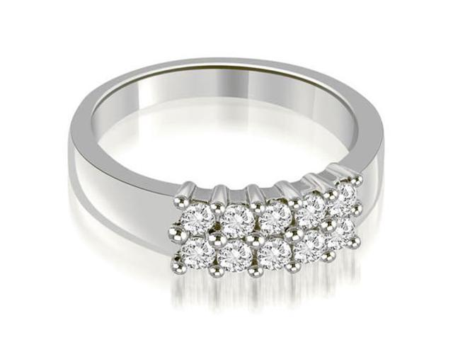 0.50 cttw. Two Row Round Cut Diamond Wedding Ring in 14K White Gold (VS2, G-H)