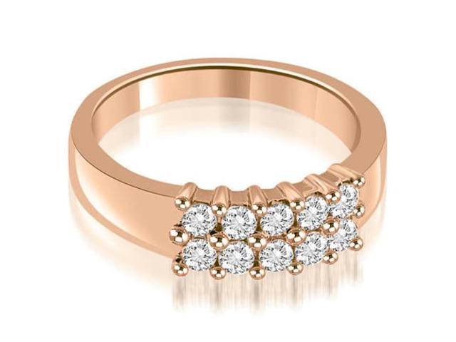 0.50 cttw. Two Row Round Cut Diamond Wedding Ring in 18K Rose Gold