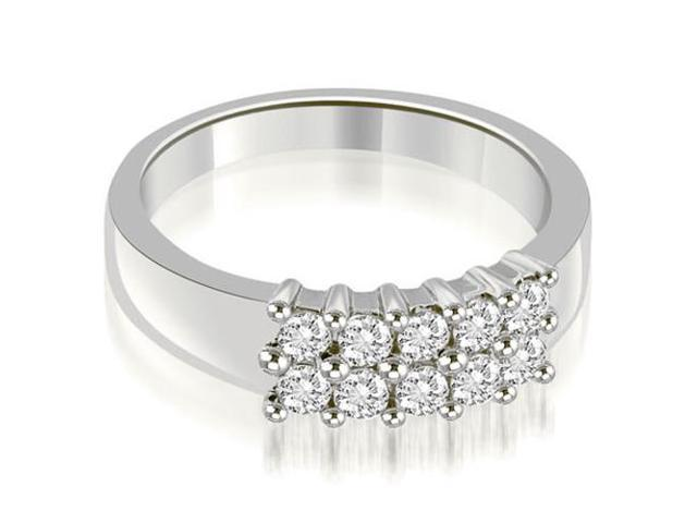 0.50 cttw. Two Row Round Cut Diamond Wedding Ring in 18K White Gold (SI2, H-I)
