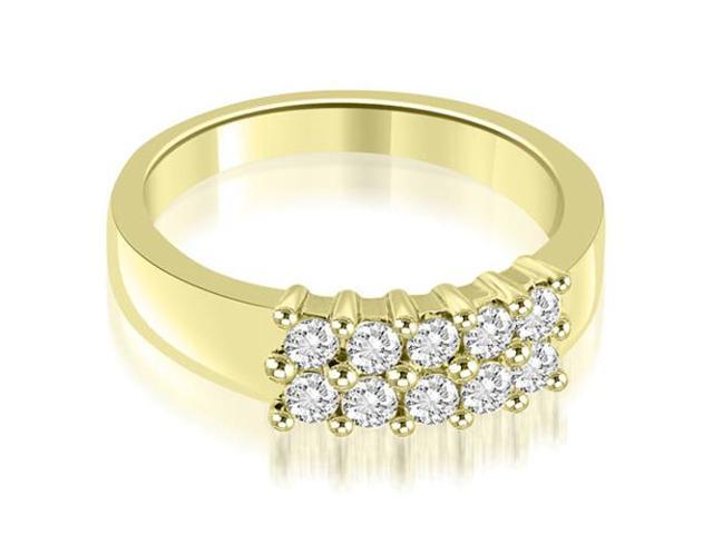 0.50 cttw. Two Row Round Cut Diamond Wedding Ring in 18K Yellow Gold (SI2, H-I)