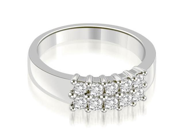 0.50 cttw. Two Row Round Cut Diamond Wedding Ring in Platinum (SI2, H-I)
