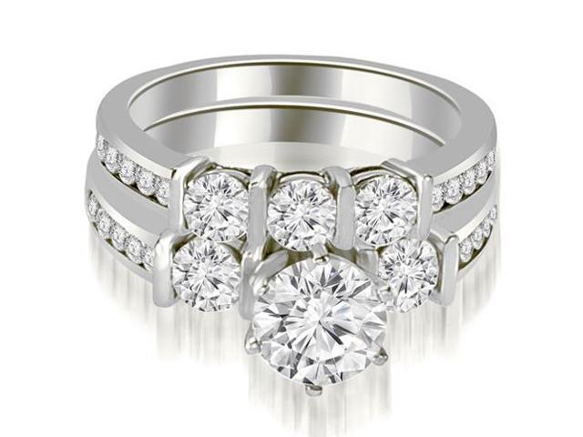 1.75 cttw. Bar Set Round Cut Diamond Engagement Set in 18K White Gold